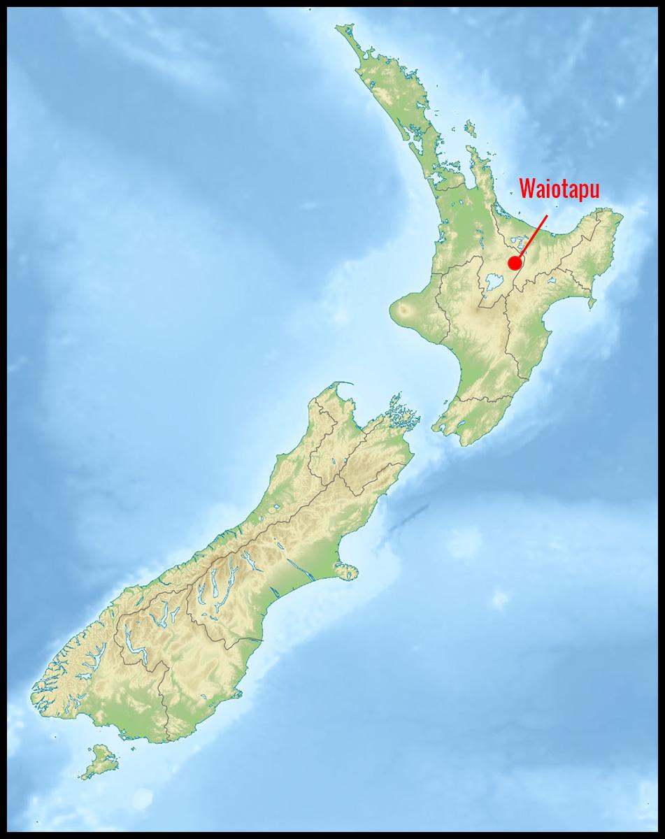 Carte position Waiotapu en Nouvelle-Zélande