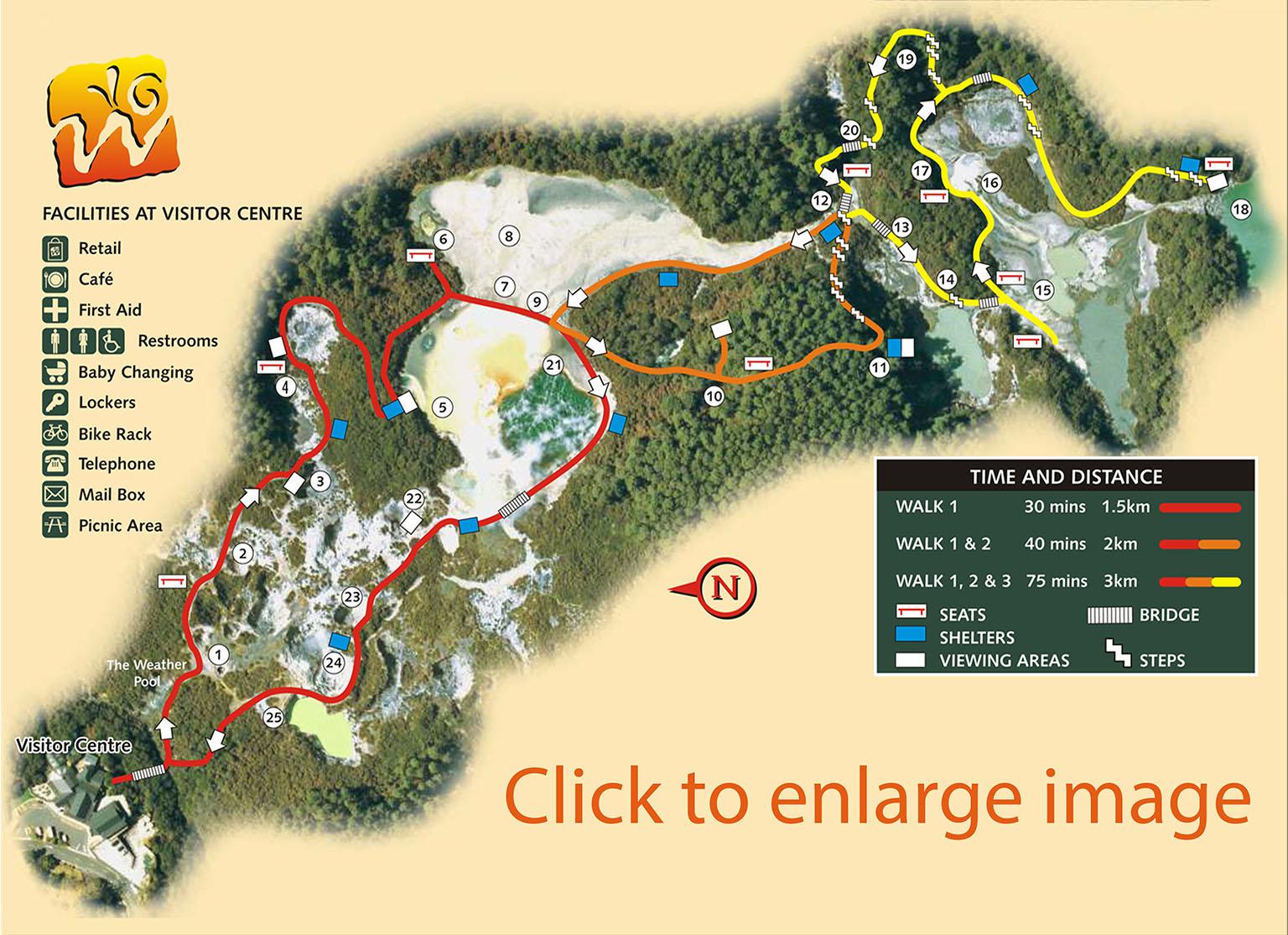 Carte du parc géothermal de Waiotapu