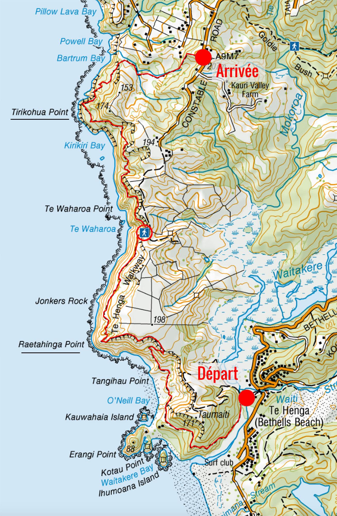 Carte de la randonnée de Te Henga walkway