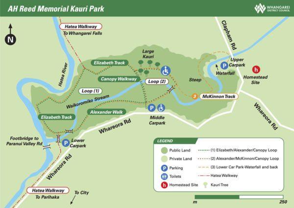 Carte du parc mémorial de AH Reed à Whangarei
