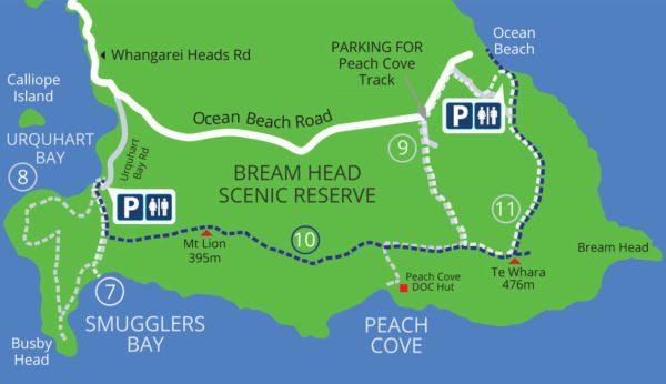 Carte de la réserve de Bream Head en Nouvelle-Zélande
