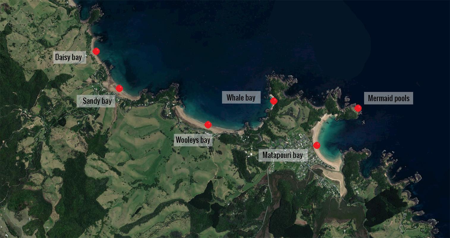 Carte de la côte de Matapouri