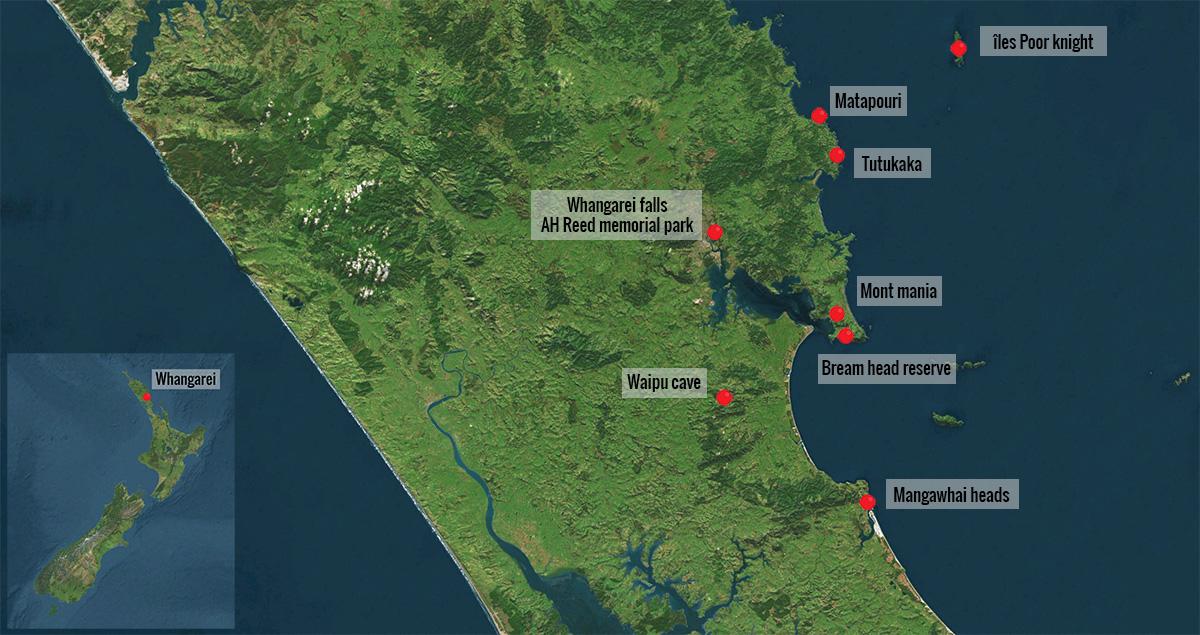Carte lieux d'intérêt de la région de Whangarei en Nouvelle-Zélande