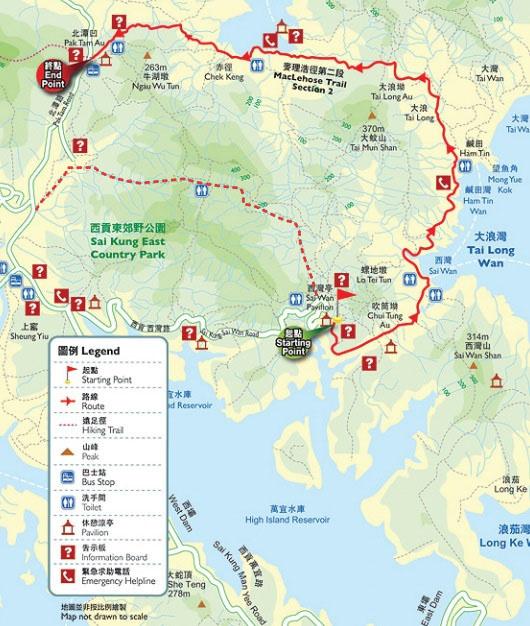 Carte de la randonnée de Tai long wan